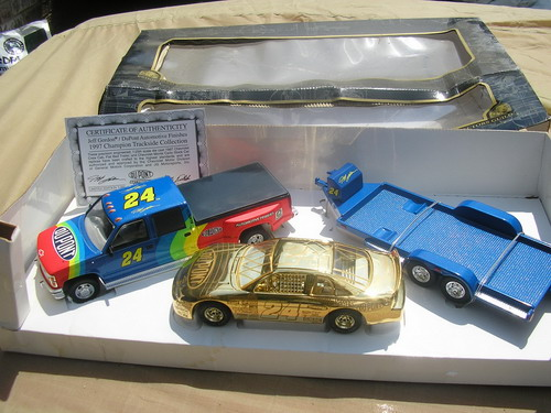 1997 Champion Trackside Collection Dually, Trailer, and Gold Car