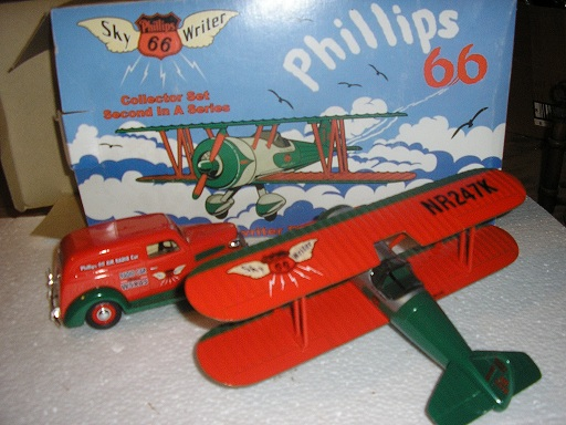 Phillips 66 Skywriter Biplane and '37 Chevy Radio Car